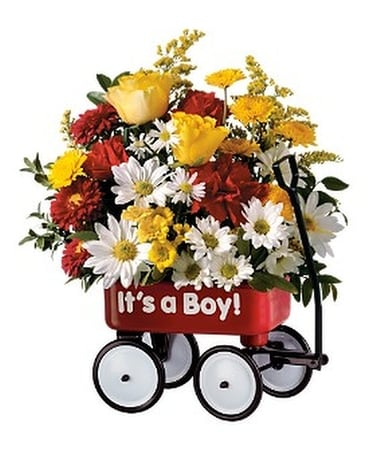 Teleflora's Baby's First Wagon - Boy Flower Arrangement