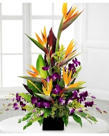 Tropical birds orchids Flower Arrangement
