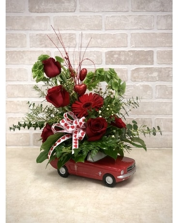 Little Red Mustang Flower Arrangement