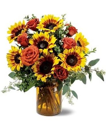 Rose And Sunflower Splendor In Ontario Ca Rogers Flower Shop