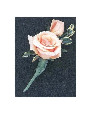 Peach Rose Boutonniere Boutonniere