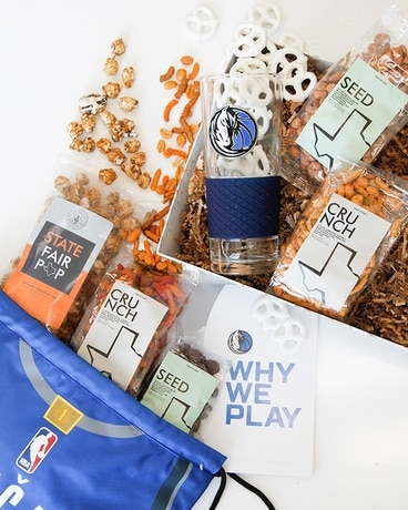 Dallas Mavericks Slam Dunk Snack Basket Flower Arrangement