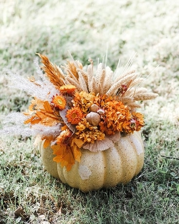 Small Faux Pumpkin With Handcrafted Preserved Flower Arrangement