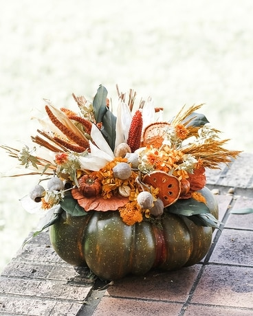 Large Faux Pumpkin With Handcrafted Preserved Flower Arrangement