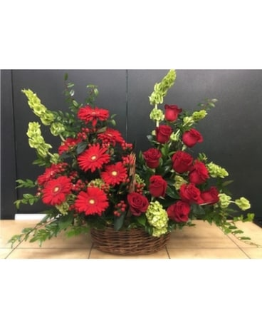 Red Roses and Red Gerbs Basket