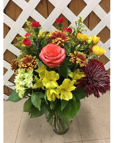 Fall Selection with roses Flower Arrangement