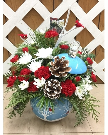 Cardinals in the Snow Ornament Flower Arrangement