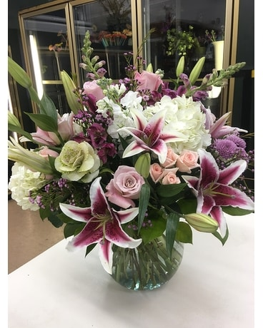 Hydrangeas, Stargazers and Roses Flower Arrangement