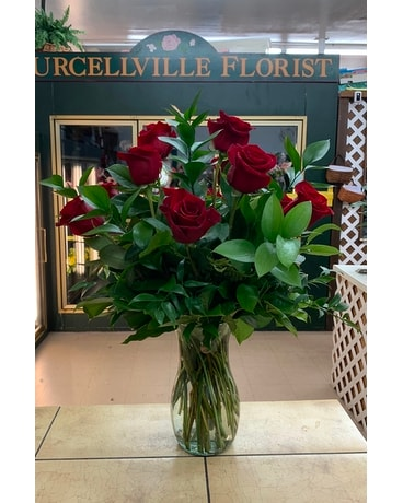Red Roses with Greenery Flower Arrangement
