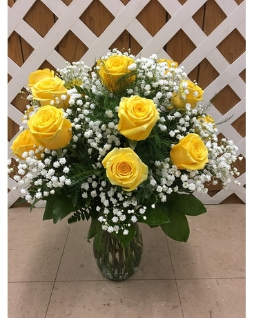 Yellow Roses with Baby's Breath Flower Arrangement
