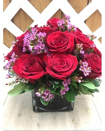 18 Red Roses in a Red Cube Flower Arrangement