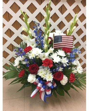 Red, White and Blue Mache Funeral Arrangement