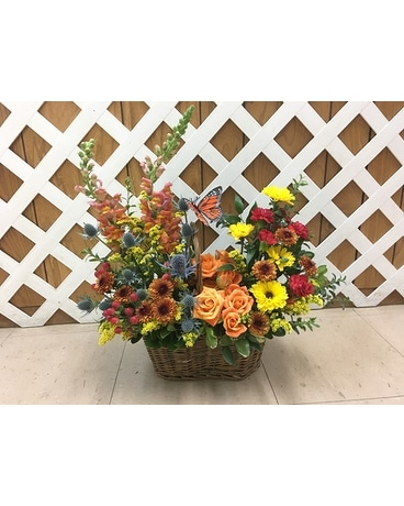 Fall Country basket blooms Flower Arrangement