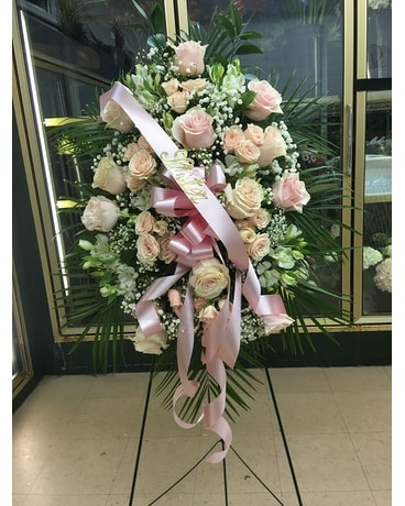 Pinks & Whites Standing Spray Funeral Arrangement