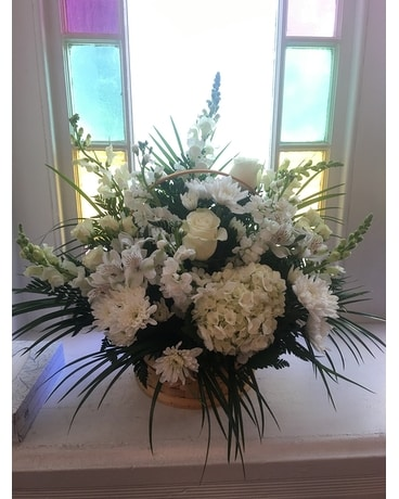 All White Flowers in a Basket Flower Arrangement