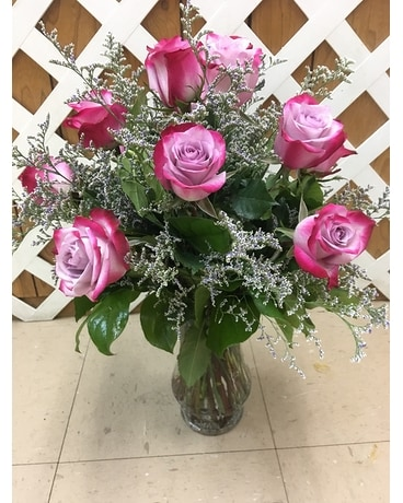 Raspberry Roses Flower Arrangement