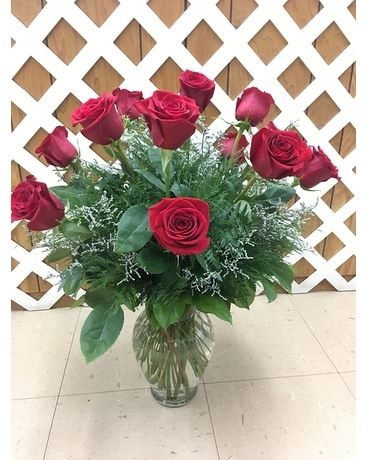 Red Roses with Limonium Flower Arrangement