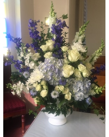 Blue and White Tribute Flower Arrangement