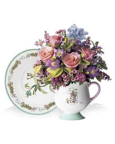 Peter Rabbit Teacup & Saucer Flower Arrangement