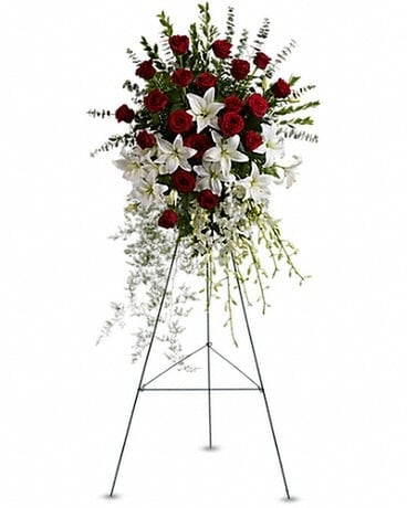 Standing sprays wreaths delivery silver spring md aspen hill florist lily and rose tribute spray mightylinksfo
