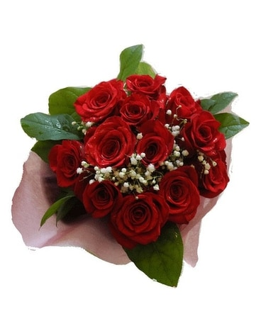 1 Dozen Wrapped Red Roses Flowers