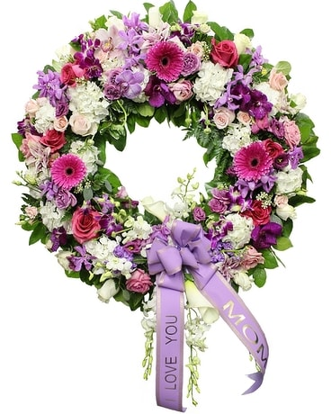 Pink, White, & Purple Wreath Flower Arrangement