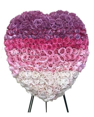 Gradient All Rose Heart Sympathy Arrangement