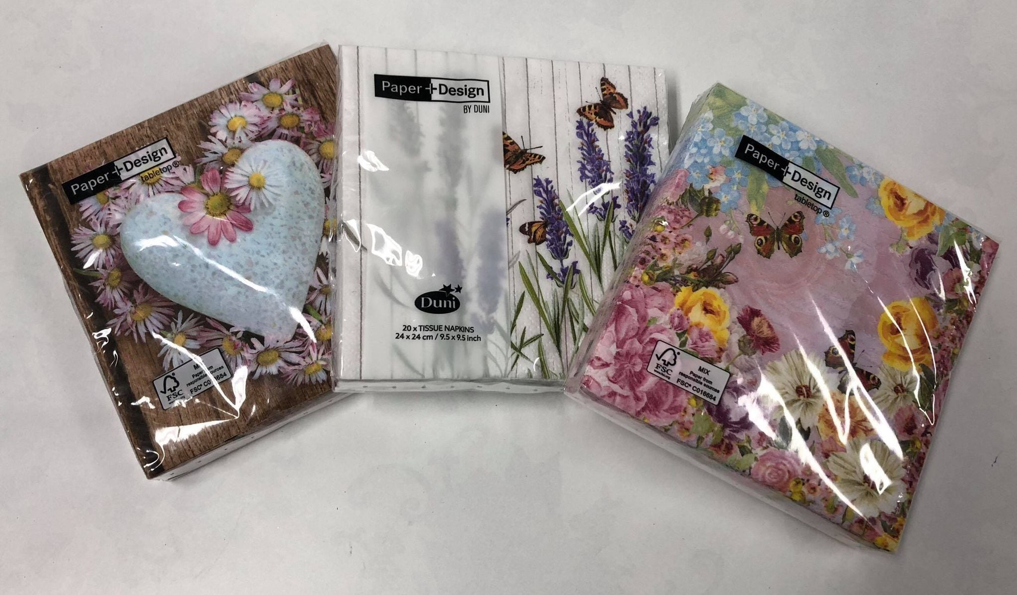 Assorted small paper napkins