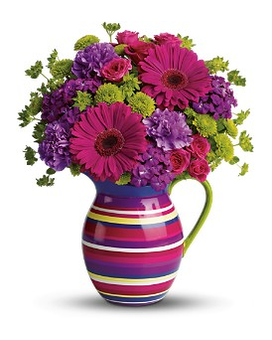 Teleflora's Rainbow Pitcher Bouquet Flower Arrangement