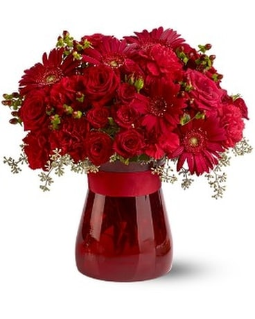 Lady in Red Flower Arrangement