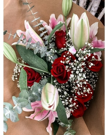 Pink Lillies, Red Roses Bouquet