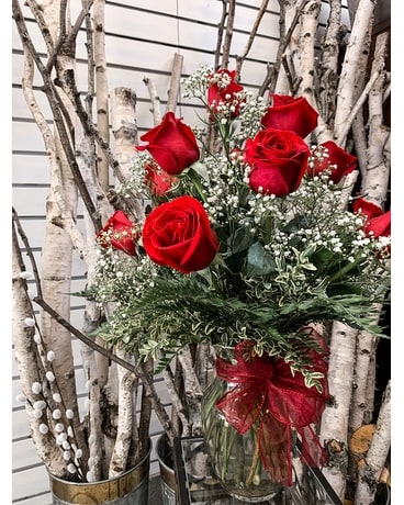 Medium Red Rose Vase Flower Arrangement