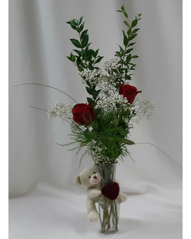 Love You Bud Vase - Red Flower Arrangement