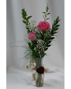 Love You Bud Vase - Pink Flower Arrangement