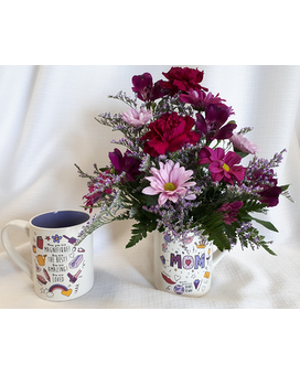 Mom Is Mauve Mug Flower Arrangement