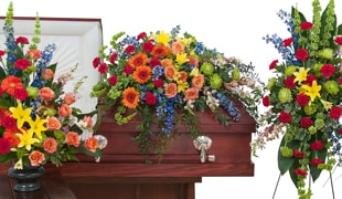 Sympathy and funeral flowers and caskets