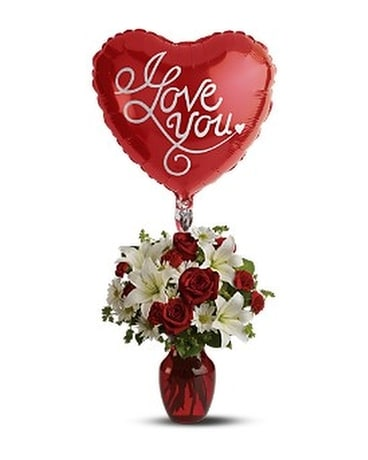 Be My Love with Balloon Flower Arrangement