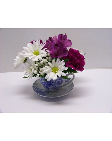 Blue Tea Time Flower Arrangement