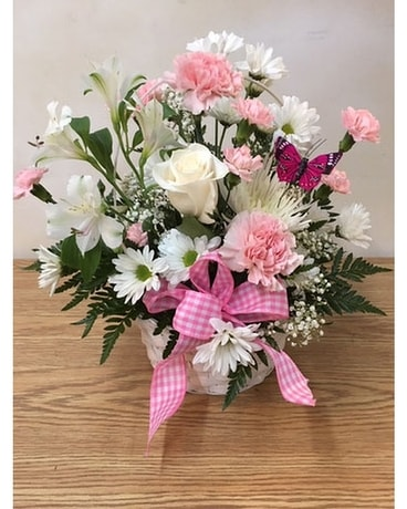 Baby Basket in Pink Flower Arrangement
