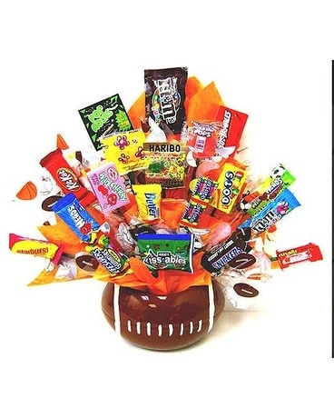 ''Rah! Rah! Football'' Candy Bouquet Gift Basket