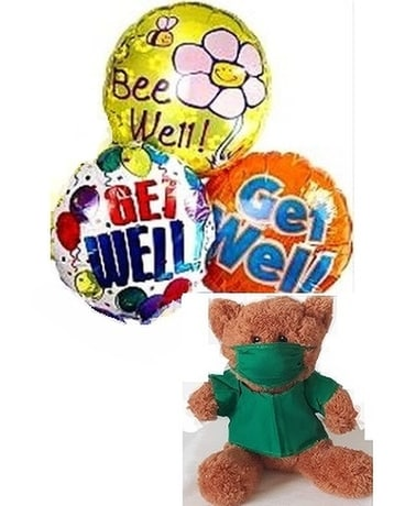 Get Well Balloons And Scrub Teddy Bear Gifts