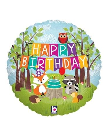 Woodland Animals Birthday Balloon