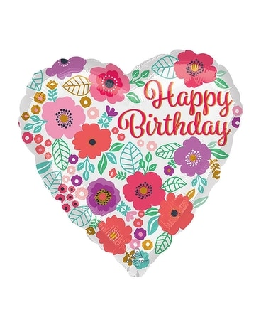 Happy Birthday Floral Print Balloon Gifts