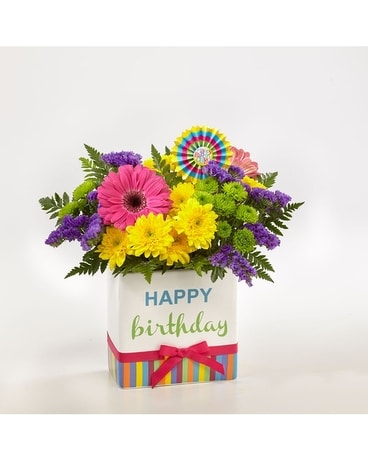 Birthday Stripes Flower Arrangement