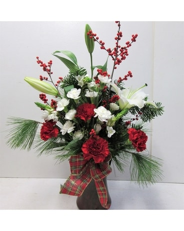 Holiday Happiness Vase (HS-518) Flower Arrangement