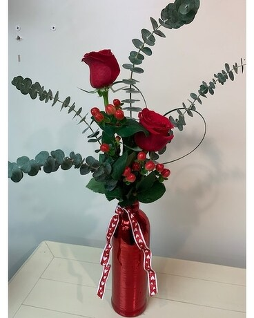 Double Red Heart Flower Arrangement