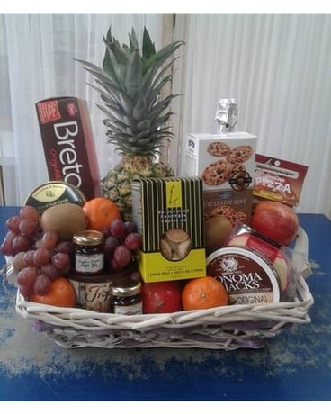 Gourmet Basket Flower Arrangement