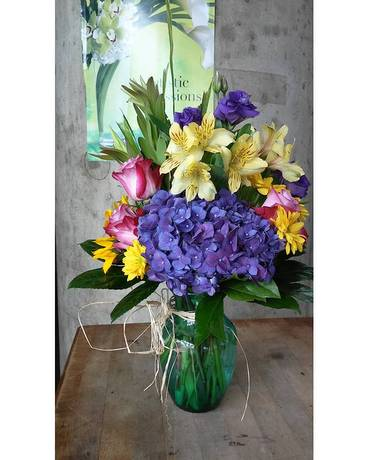 Color On Color Flower Arrangement