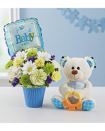 Lotsa Love Baby Boy Flower Arrangement
