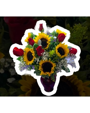 Sunny Sunflowers and Roses Flower Arrangement